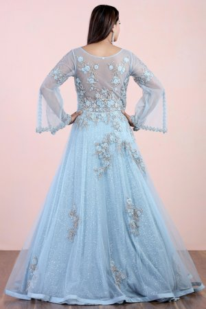 Powder Blue Embellished Gown