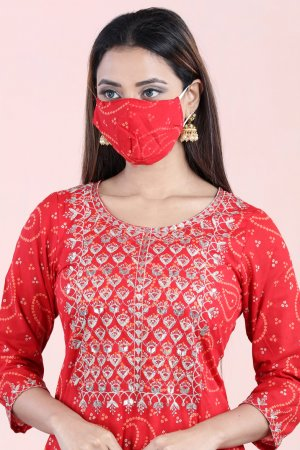 Crimson Red Bandhej Printed Kurta Set