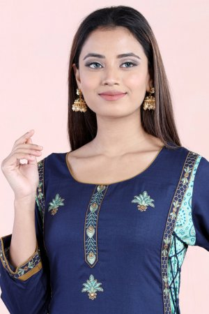 Navy and Sea Green Fusion Kurti