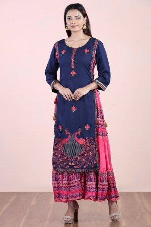 Navy Blue Layered Kurti