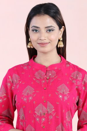 Rouge Pink Embellished Kurta Set