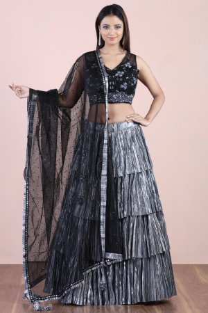 Metallic Grey Layered Lehenga Set