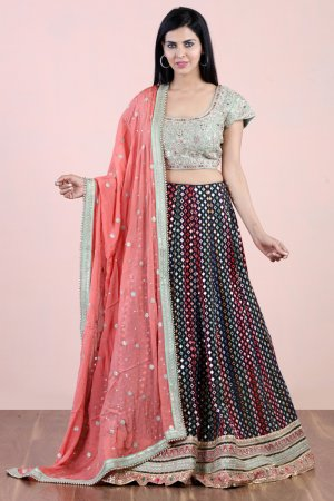 Varicolored Embellished Lehenga Set