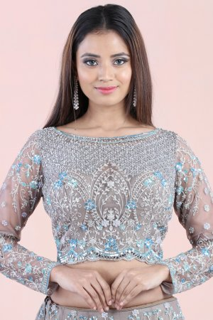Sterling Grey Embellished Lehenga Set