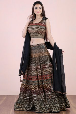 Multicolor Silk Lehenga Set