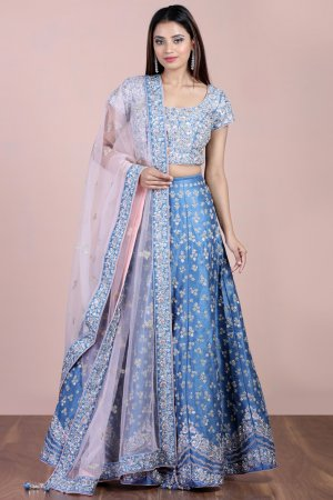 Steel Blue Embellished Lehenga Set
