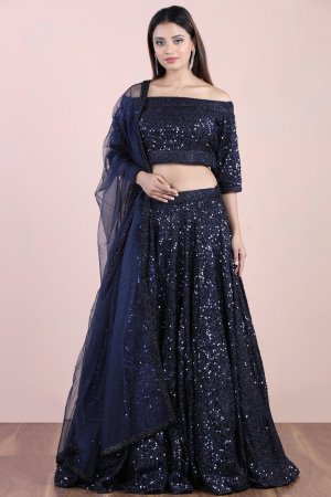 Ocean Navy Sequin Lehenga Set