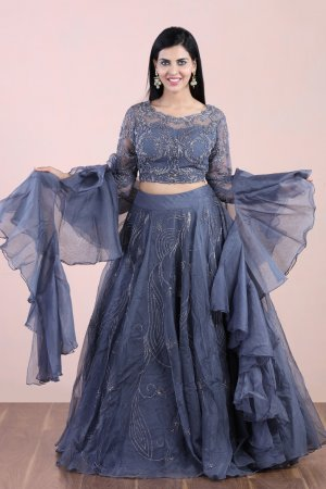 Charcoal Grey Cocktail Lehenga Set