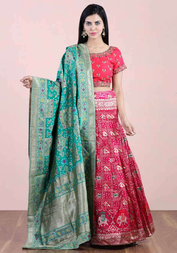 Pleated Bandhej Lehenga Set
