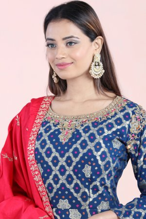 Ink Blue Anarkali Set
