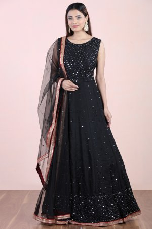 Black Mirror Embellished Anarkali Set