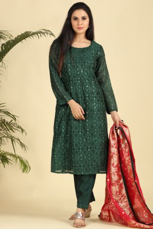 Majestic Green Embroidered Salwar Suit-2
