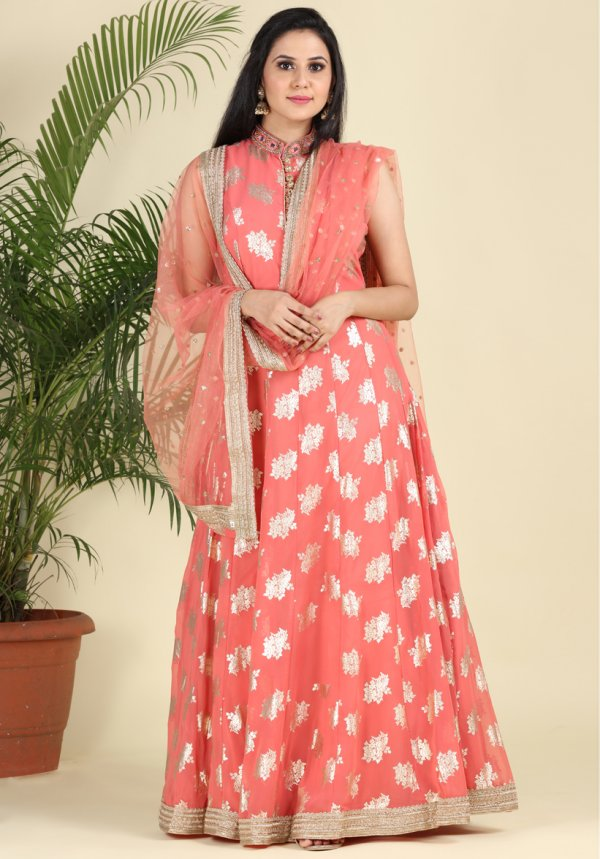Peach Embellished Georgette Anarkali-3