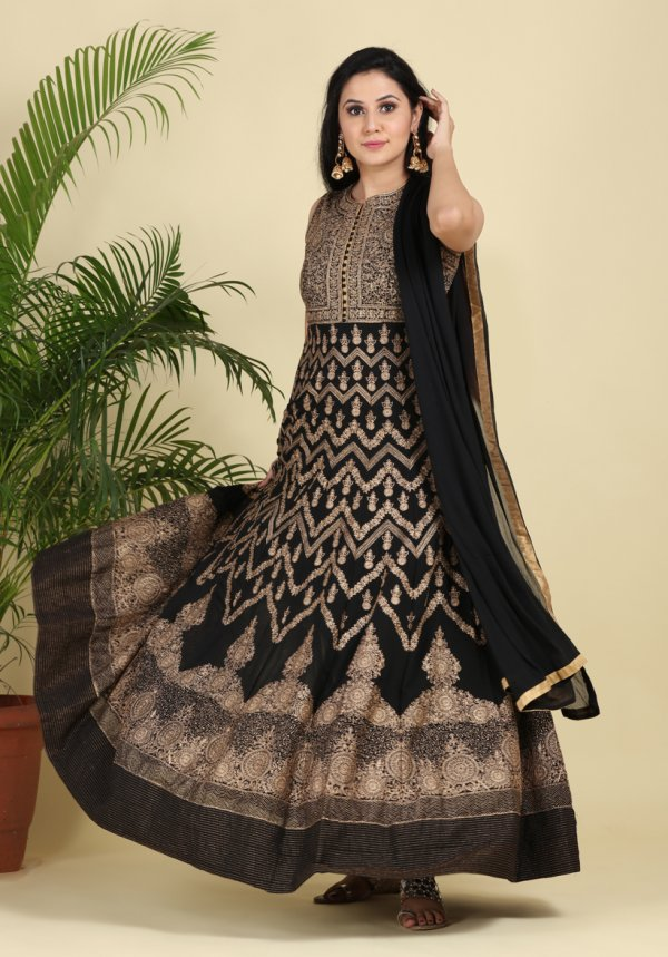 Royal Black Embroidered Anarkali