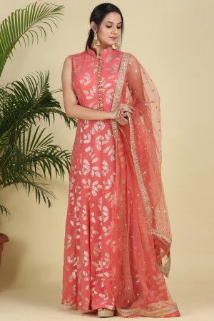 Salmon Peach Georgette Anarkali-1