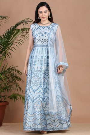 Dew Drop Grey Printed Anarkali-1