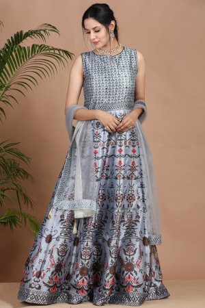 Sparkling Grey Festive Anarkali Set-3
