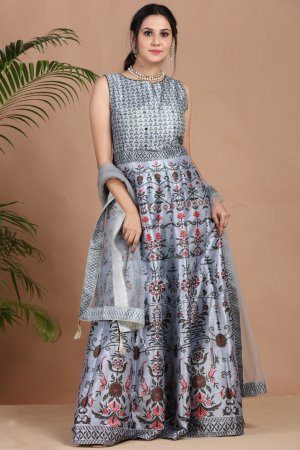 Sparkling Grey Festive Anarkali Set-2