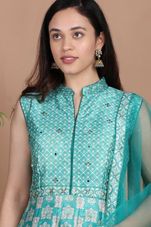Sea Green Silk Anarkali-1