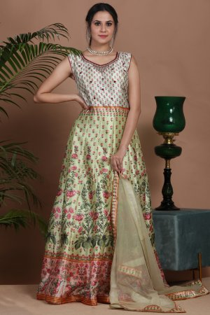 Fresh Green Floral Anarkali